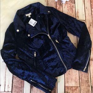 Silence + Noise Velvet Navy Blue Moto Jacket XS